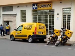Agência dos Correios é alvo de assaltantes em Bom Jesus dos Perdões (Foto: Rodrigo Correia/Vanguarda Repórter)
