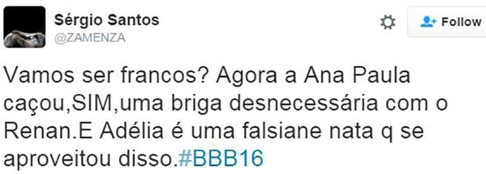 post briga ana paula x renan x adélia bbb16 (Foto: web)