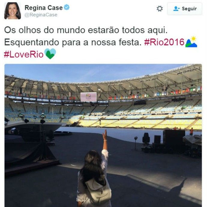 Regina Casé pronta para a festa de abertura (Foto: Reprodução / Twitter)