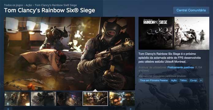 Rainbow Six Siege no PC via Steam (Foto: Reprodução/Felipe Vinha)