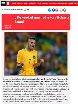 Luan Marca Grêmio (Foto: Reprodução)