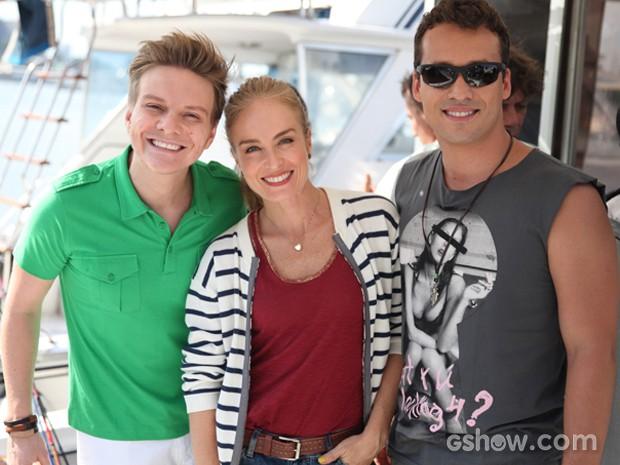 Angélica grava com Rodrigo Andrade e Michel Teló (Foto: TV Globo/Pedro Curi)