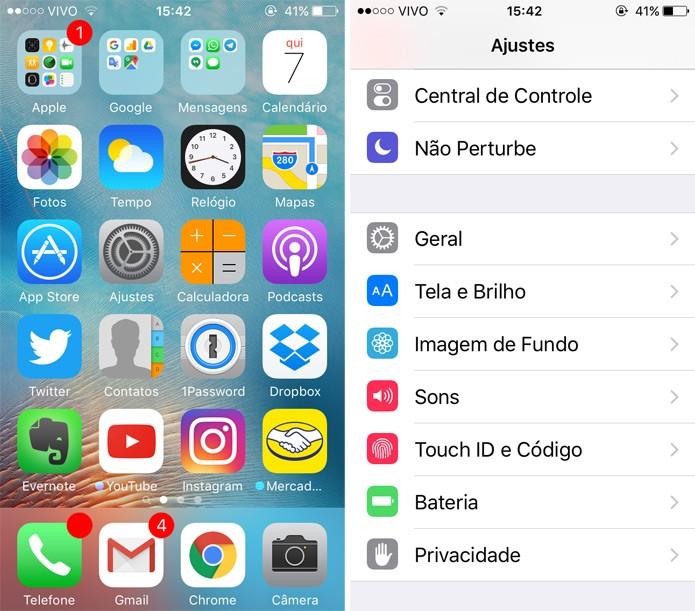 Entre nos ajustes gerais do iPhone SE (Foto: Reprodução)