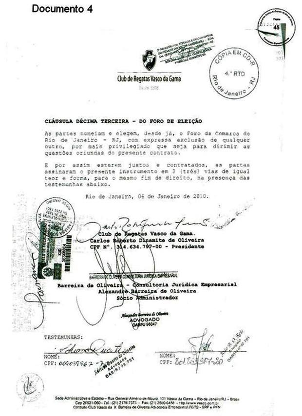 Documento Vasco 4 (Foto: GloboEsporte.com)
