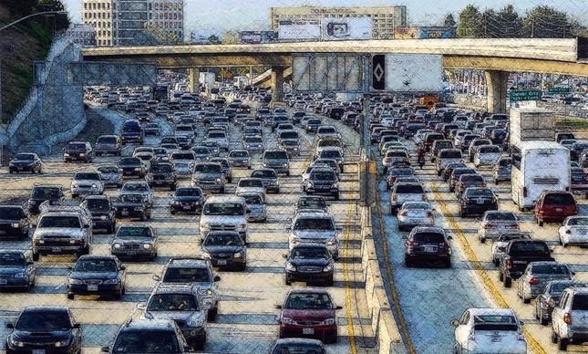 Trânsito nos EUA - arte HK sobre foto capturada na Internet
