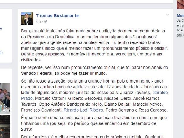 Professor de direito comenta gafe de Cardozo (Foto: Reprodução/Facebook)