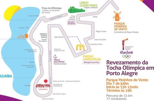 Mapa mostra o caminho da tocha olímpica em Porto Alegre (Foto: Divulgação/PMPA)
