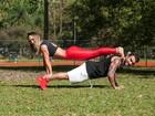 Eliana Amaral faz treino ao ar livre com o noivo: 'Aproveitando o sol'