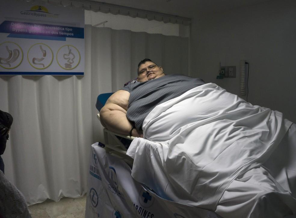 Juan Pedro Franco no Hospital de Gastric Bypass em Guadalajara, no México (Foto: Héctor Guerrero/AFP)