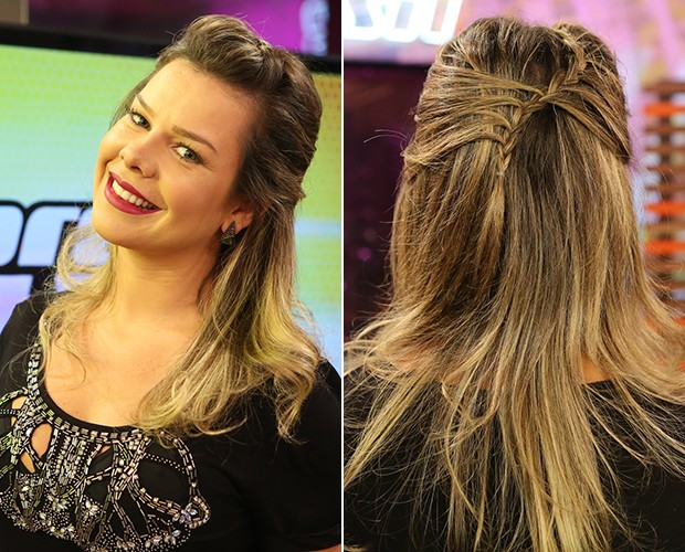 trança Fernanda coque lateral (Foto: Isabella Pinheiro/TV Globo)