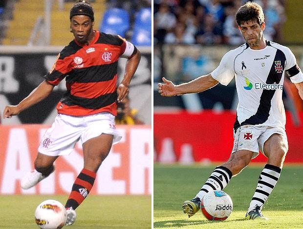 Ronaldinho e Juninho, Flamengo x Vasco (Foto: Editoria de arte / Globoesporte.com)