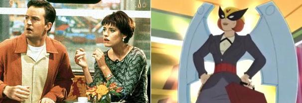 """A atriz como Kathy em 'Friends' e sua personagem em 'Harvey, o Advogado"""", a Mulher Pássaro (Foto: Divulgação)"""