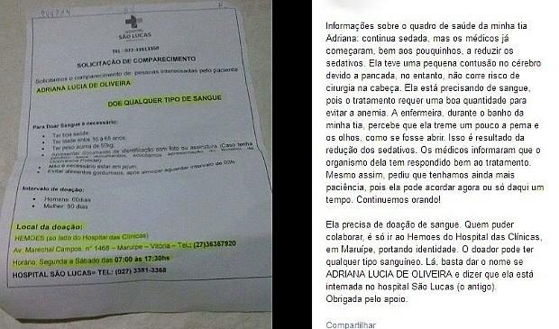 Família de atropelada na Ufes pede doação de sangue em rede social no espírito santo (Foto: Reprodução/Facebook)