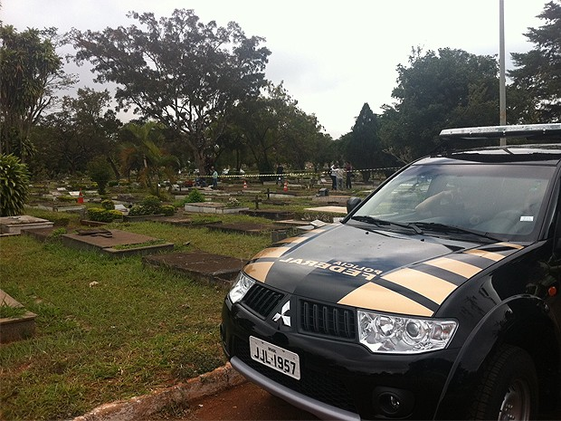Local onde agente da PF foi morto permanece cercado pela polícia após trabalho da perícia (Foto: Filipe Matoso/G1)