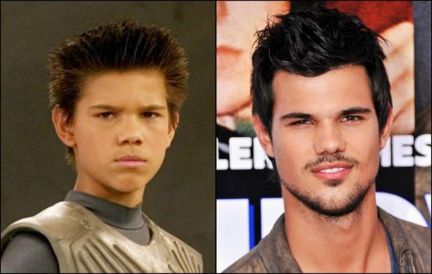 Quem diria, hein, Taylor Lautner? De Sharkboy (de 'As Aventuras de Sharkboy e Lavagirl, 2005) para lobisomem de barriga tanquinho na 'Saga Crepúsculo'. O ator tem 22 anos atualmente. (Foto: Divulgação e Getty Images)