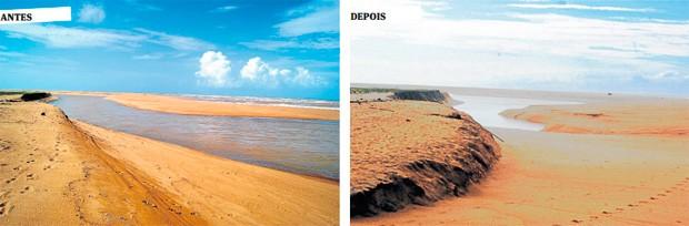 G1 - Rio Doce não alcança mais o mar na foz de Regência, em