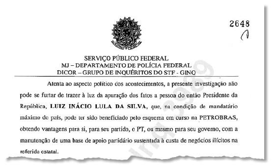 Documento mostra pedido da Polícia Federal para ouvir o ex-presidente Luiz Inácio Lula da Silva no inquérito que investiga políticos na operação Lava Jato (Foto: Reprodução)