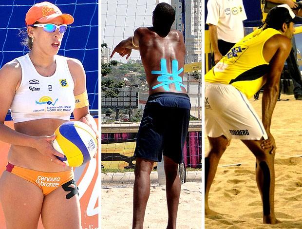 vôlei de praia kinesio tape taiana, pedro solberg e evandro. (Foto: Editoria de Arte / Globoesporte.com)