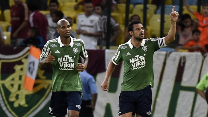 Fluminense x Santos - Wellington Silva e Fred comemoram gol (Foto: André Durão)