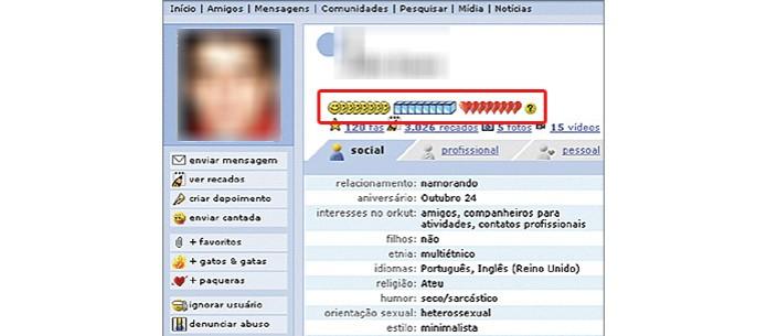 Os ícones de cubo de gelo, coração e sorriso mediam a popularidade do usuário entre seus amigos (Foto: Reprodução/Orkut) (Foto: Os ícones de cubo de gelo, coração e sorriso mediam a popularidade do usuário entre seus amigos (Foto: Reprodução/Orkut))