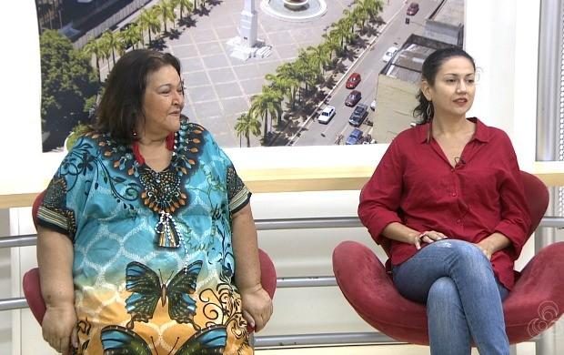 Verônica Padrão e Larissa Costa cantaram uma das canções que serão apresentadas durante o show (Foto: Bom Dia Amazônia])