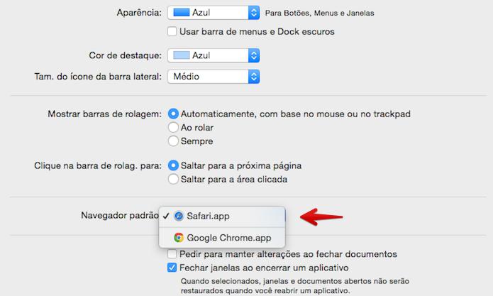 Alterando o navegador padrão do Mac OS X (Foto: Reprodução/Helito Bijora)