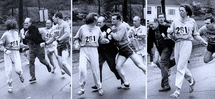 EuAtleta primeira maratonista Kathrine Switzer foto Boston Herald (Foto: Eu Atleta)