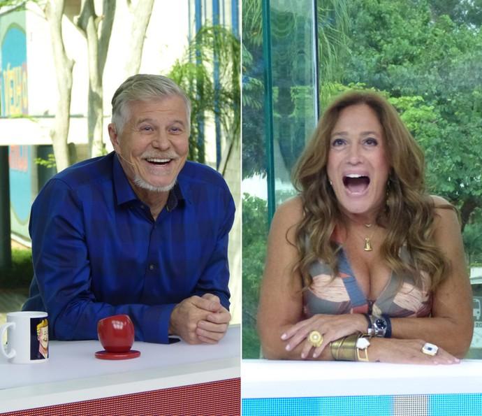 Miguel Falabella e Susana Vieira juntos na bancada do 'Vídeo Show' (Foto: Leonardo Viso/ Cristina Couple/ Gshow)