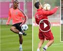 Douglas Costa, Thiago e Lewandowski dão show de habilidade em treino