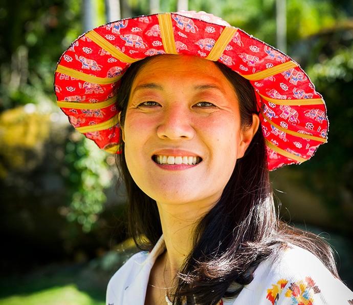 Miwa Yanagizawa caracterizada como Mieko de 'Sol Nascente' (Foto: TV Globo / João Miguel Júnior)