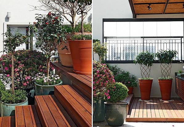 Os vasos ladeiam a escada, de forma que as plantas fazem as vezes de guarda-corpo. são elas: azaleia (ao fundo), buxo podado em bola, roseira e camélia (Foto: Evelyn Müller)