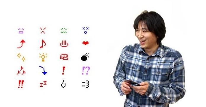 Shigetaka Kurita, criador do Emoji, e alguns dos primeiros símbolos (Foto: Reprodução)