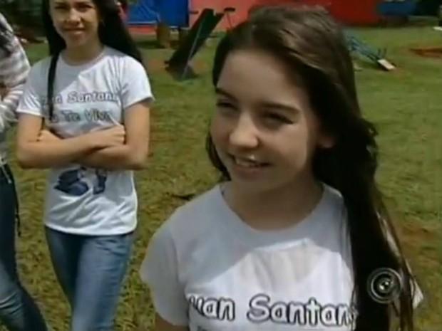 Livian Paifer, de 13 anos, é fã do cantor Luan Santana. (Foto: Reprodução TV Tem)