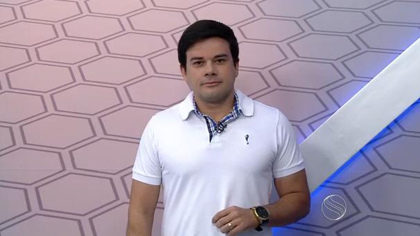 Guilherme Fraga apresenta o GE durante as férias de Tâmara Oliveira (Foto: Divulgação / TV Sergipe)