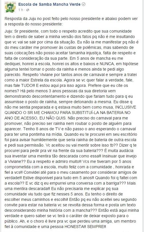 Juju Salimeni se defende após desabafo do presidente da Mancha (Foto: Reprodução/Facebook)