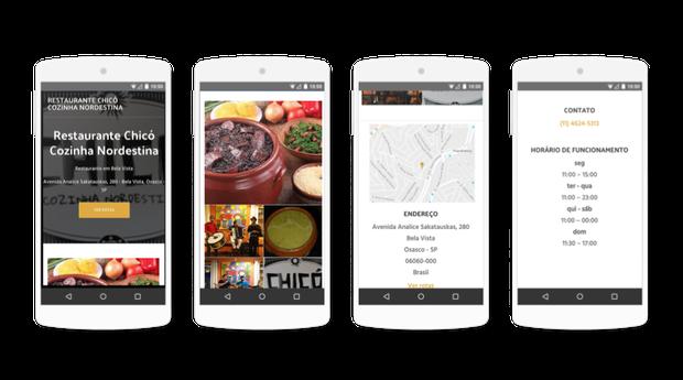 Site criado no Google Meu Negócio se adapta automaticamente aos celulares (Foto: Divulgação)