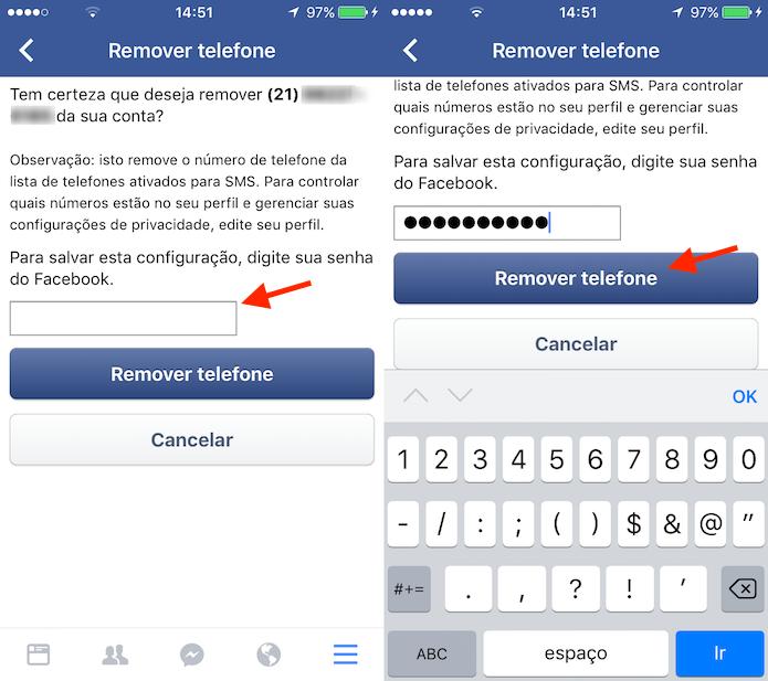 Procedimento para remover um número de telefone cadastrado no Facebook pelo celular (Foto: Reprodução/Marvin Costa)
