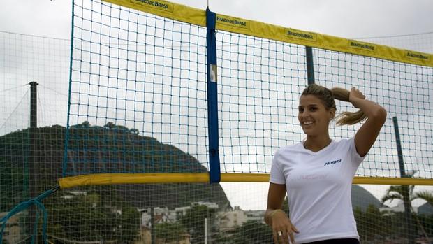 Mari Paraíba posa para a foto em treino na Urca (Foto: Alexandre Sattamini/SporTV.com)