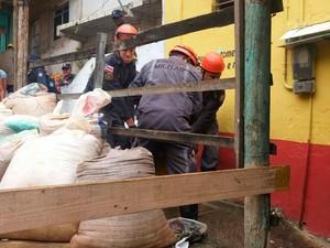 Idosa morta após queda de árvore é resgatada pelo Corpo de Bombeiros (Foto: Juliana Almirante / G1)