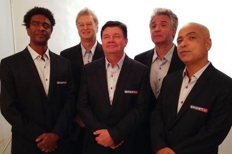 Os Cassetas com uniforme do SporTV (Foto: Reprodução)