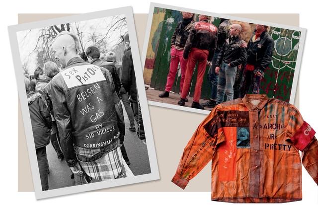 Ao eclodir junto com o movimento punk nos anos 70, o do it yourself era um ato de transgressão. Acima, a icônica jaqueta Anarchy, criada em 1976 por Vivienne Westwood e Malcolm McLaren, responsáveis pela imagem da banda Sex Pistols  (Foto: Getty Images, Divulgação e Reprodução)