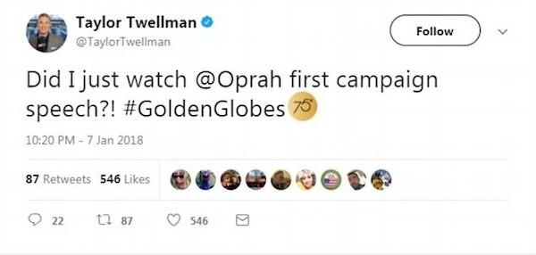 Uma pessoa defendendo a candidatura de Oprah Winfrey à presidência dos EUA (Foto: Twitter)
