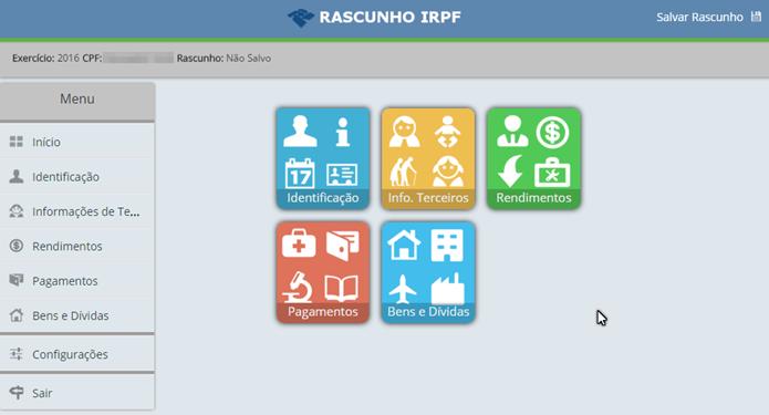 As cinco áreas da declaração do imposto de renda (Foto: Felipe Alencar/TechTudo)