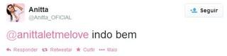 Mensagem de Anitta (Foto: Reprodução / Twitter)