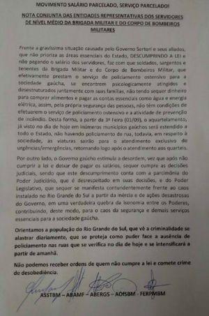 Carta assinada por entidades ligadas à Brigada Militar e Corpo de Bombeiros (Foto: Reprodução)