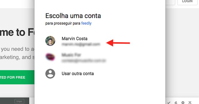Faça o login de uma conta do Google no serviço online Feedly (Foto: Reprodução/Marvin Costa)