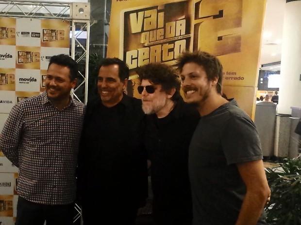 Da esquerda da direita, Danton Mello, Maurício Faria, Branco Mello e Fábio Porchat (Foto: Luciano Calafiori/G1)