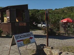 Em setembro, estacionamento na Praia da Joaquina custava R$ 7 (Foto: Reprodução/RBSTV)