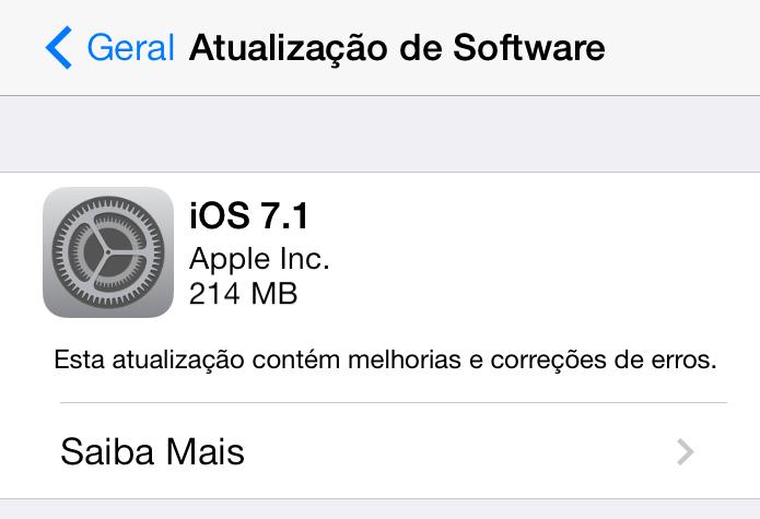 iOS ganhou update nesta segunda (Foto: Thiago Barros/TechTudo) (Foto: iOS ganhou update nesta segunda (Foto: Thiago Barros/TechTudo))