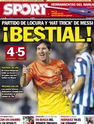 Messi foi destaque nos jornais espanhóis neste domingo (Foto: Reprodução / Sport)